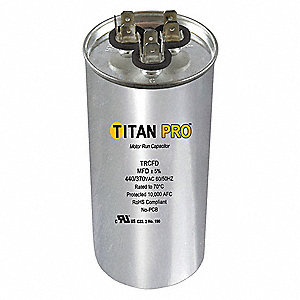 Round Motor Dual Run Capacitor,80/5 Microfarad Rating,370-440VAC Voltage