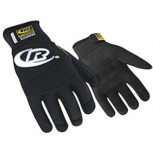 Cold Condition Mechanics Gloves, Synthetic Leather Palm Material, Black, M, PR 1