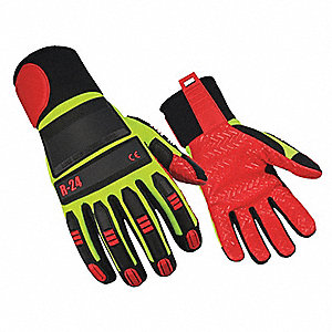 Cut Resistant Gloves, Synthetic Suede Palm Material, Hi-Vis Green, 2XL, PR 1
