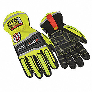 Extrication Gloves,  High Visibility Green,  M,  Kevlar® Palm Material,  Elastic Cuff,  1 PR