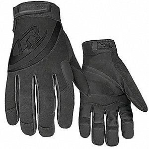 Rescue Gloves,  Stealth,  XL,  Synthetic Leather, Leather Palm Material,  Hook-and-Loop Cuff,  1 PR