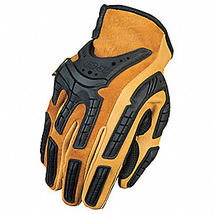 Leather Mechanics Gloves, Genuine Leather Palm Material, Black, XL, PR 1