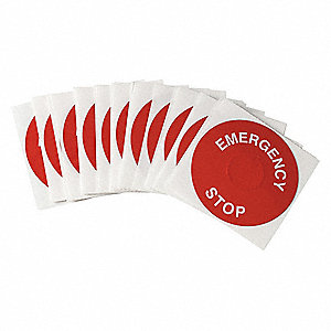 Round Emergency Stop Legend Plate Label, Polyester with Acrylic-Foam Backed Adhesive, White/Red