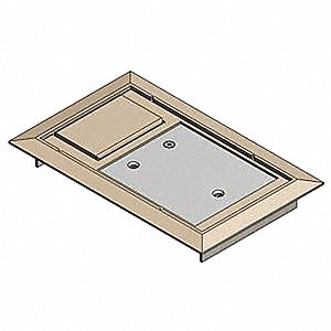 "Floor Box Cover, Polycarbonate with Steel Reinforcement Plate, Shape: Rectangular, 8-1/4"" Length"