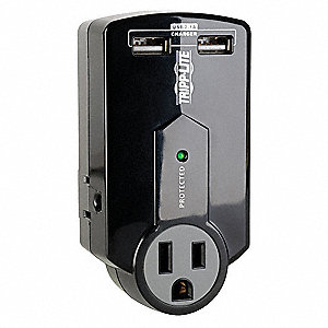 Surge Protector Plug Adapter with Data Port, Black, Connector Type: 5-15R, Plug Configuration: 5-15P