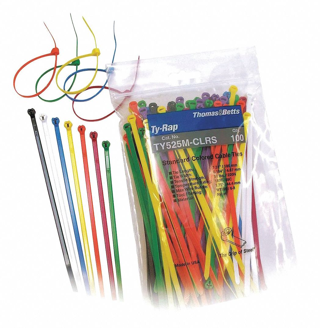 TY-RAP(R) Nylon 6/6 Cable Tie Kit, Assorted Colors, No. of Pieces ...