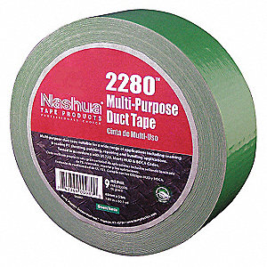 "Industrial Duct Tape, 1-7/8"" X 60 yd., 9.00 mil Thick, Green Coated Cloth, 1 EA"