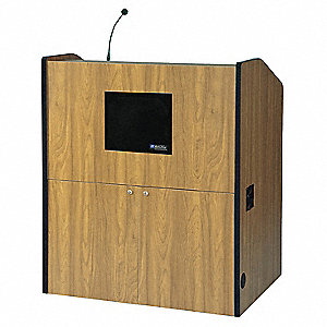 Lectern w/Sound, Med Oak, 48-1/2x41x30 In