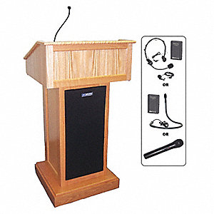 Lectern w/Sound, Oak, 48x32x24 In