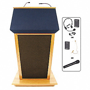 Lectern w/Sound,Oak,51x30x25-1/2 In