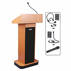 Lectern w/Sound,Med Oak,46-1/2x22x15 In