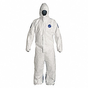 Hooded Disposable Coveralls with Elastic Cuff, Tyvek® 400 D Material, White/Blue, L