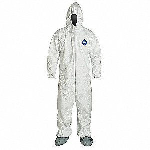 Hooded Disposable Coveralls with Elastic Cuff, White, L, Tyvek®
