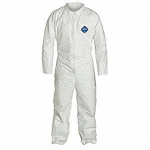 Collared Disposable Coveralls with Open Cuff, White, 3XL, Tyvek®