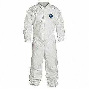 Collared Disposable Coveralls with Elastic Cuff, White, 5XL, Tyvek®