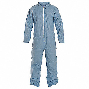 Tempro, Flame-Resistant Coverall, Size: 3XL, Color Family: Blues, Closure Type: Zipper
