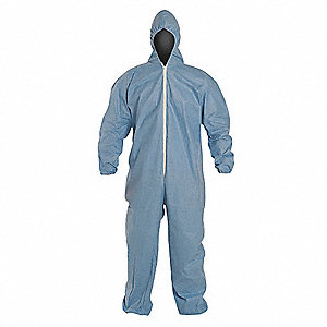 Tempro, Flame-Resistant Coverall w/Hood, Size: XL, Color Family: Blues, Closure Type: Zipper