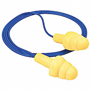 25dB Disposable Flanged-Shape Ear Plugs&#x3b; Corded, Yellow, Universal