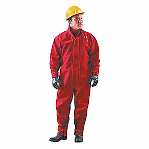Collared Coverall,Hook-and-Loop,Red,L