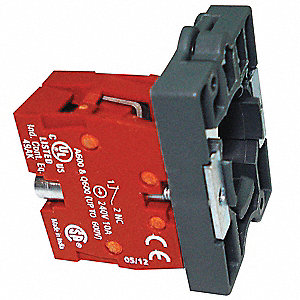 Contact Block, 22mm, 1NC Contact Form, 1.2A @ 600VAC, 3A @ 240VAC, 6A @ 120VAC Contact Rating