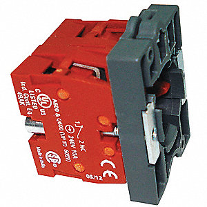 Contact Block, 22mm, 2NC Contact Form, 1.2A @ 600VAC, 3A @ 240VAC, 6A @ 120VAC Contact Rating