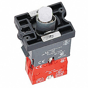 1NC LED Lamp Module and Contact Block, Red, For Use With Plastic Operators