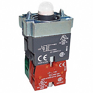 1NO/1NC LED Lamp Module and Contact Block, Green, For Use With Chrome Operators