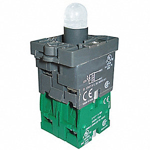 2NO LED Lamp Module and Contact Block, White, For Use With Plastic Operators