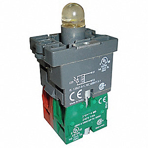 1NO/1NC LED Lamp Module and Contact Block, Red, For Use With Plastic Operators