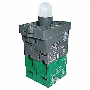 2NO LED Lamp Module and Contact Block, Green, For Use With Plastic Operators