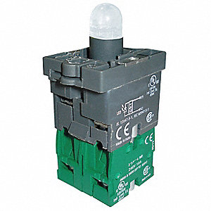 2NO LED Lamp Module and Contact Block, Yellow, For Use With Plastic Operators