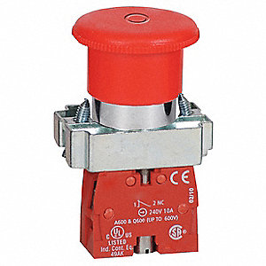 Emergency Stop Push Button, Type of Operator: 40mm Mushroom Head, Size: 22mm, Action: Push / Pull