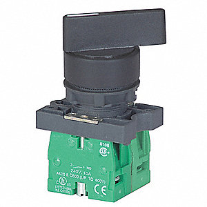 Non-Illuminated Selector Switch, Size: 22mm, Position: 3, Action: Momentary / Maintained / Momentary