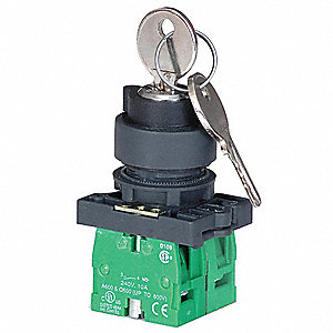 Non-Illuminated Selector Switch, Size: 22mm, Position: 2, Action: Maintained / Maintained