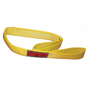 7 ft. Heavy-Duty Nylon Flat Eye and Eye Web Sling with 6400 lb. Vertical Hitch Capacity, Yellow