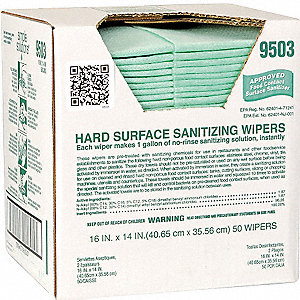 "Sanitizing Cleaning Wipes, 50 ct. Box, Fragrance: Unscented, Size: 14"" x 16"""