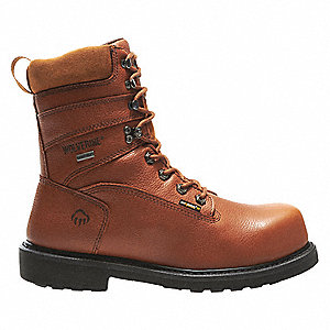 "8""H Men's Work Boots, Composite Toe Type, Leather Upper Material, Brown, Size 7-1/2EW"