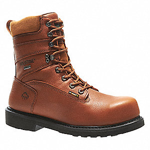 "8""H Men's Work Boots, Composite Toe Type, Leather Upper Material, Brown, Size 9-1/2M"
