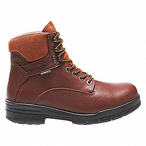 "6""H Men's Work Boots, Steel Toe Type, Leather Upper Material, Brown, Size 11-1/2M"