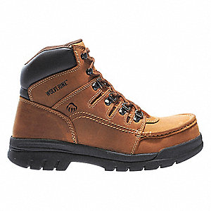 "6""H Men's Work Boots, Steel Toe Type, Leather Upper Material, Brown, Size 8-1/2M"