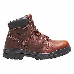 "6""H Men's Work Boots, Steel Toe Type, Leather Upper Material, Walnut, Size 10-1/2EW"