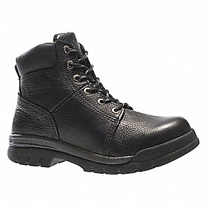 "6""H Men's Work Boots, Steel Toe Type, Leather Upper Material, Black, Size 8EW"
