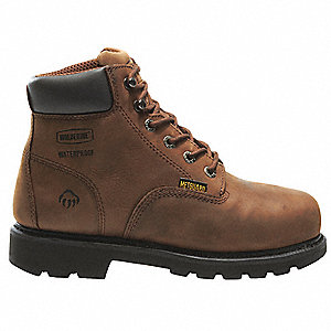 "6""H Men's Work Boots, Steel Toe Type, Leather Upper Material, Brown, Size 9EW"