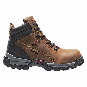 "6""H Men's Work Boots, Composite Toe Type, Leather Upper Material, Brown, Size 10-1/2EW"