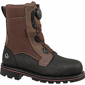 "8""H Men's Work Boots, Steel Toe Type, Leather Upper Material, Brown, Size 7-1/2EW"