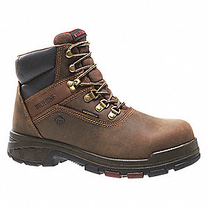 "6""H Men's Work Boots, Composite Toe Type, Leather Upper Material, Dark Brown, Size 10-1/2EW"