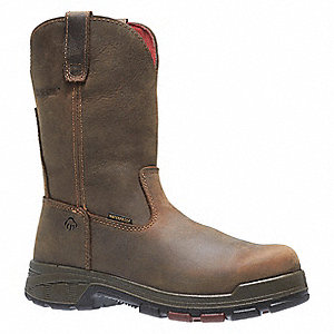 "10""H Men's Wellington Boots, Composite Toe Type, Leather Upper Material, Dark Brown, Size 10-1/2EW"