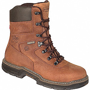 "8""H Men's Work Boots, Steel Toe Type, Leather Upper Material, Brown, Size 7EW"