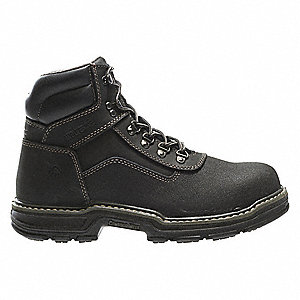 "6""H Men's Work Boots, Composite Toe Type, Leather Upper Material, Black, Size 11-1/2EW"