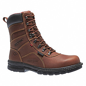 "8""H Men's Work Boots, Steel Toe Type, Leather Upper Material, Brown, Size 9-1/2M"